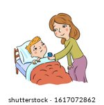 mother gives medicine to her... | Shutterstock .eps vector #1617072862