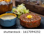 french beef tartare dish set... | Shutterstock . vector #1617094252