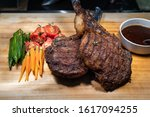 pork chop in a buffet restaurant | Shutterstock . vector #1617094255