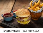 fine dining burger dish with... | Shutterstock . vector #1617095665
