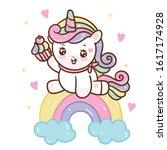 cute unicorn doodle pony child... | Shutterstock .eps vector #1617174928
