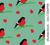 Birds Seamless Pattern With Red ...
