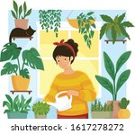 young woman watering plants in... | Shutterstock .eps vector #1617278272