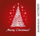 red fir tree for merry christmas | Shutterstock .eps vector #161728295