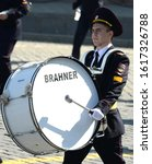 Small photo of MOSCOW, RUSSIA - MAY 7, 2019:Cadet-drummer of the Moscow University of the Ministry of internal Affairs of Russia during the dress rehearsal of the parade on red square in honor of Victory Day