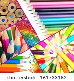 color pencils collage | Shutterstock . vector #161733182