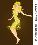 Blonde Girl Dancing Barefoot...