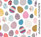 seamless pattern with easter... | Shutterstock .eps vector #1617434878