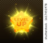 level up icon. golden star with ...