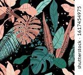 seamless hand drawn tropical...   Shutterstock .eps vector #1617454975