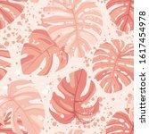 seamless hand drawn tropical... | Shutterstock .eps vector #1617454978