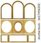 Small photo of Set of triple golden frames (triptych) for paintings, mirrors or photos isolated on white background