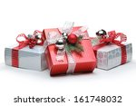 Red And Silver Gift Box On...