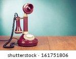 Vintage Old Telephone On Wood...