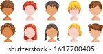 head and hair of children set.... | Shutterstock .eps vector #1617700405