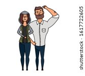 young man bearded with woman... | Shutterstock .eps vector #1617722605