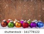 Colorful christmas balls in a row