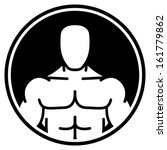 Vector icon of muscular man over black circle