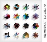 3d flat geometric abstract...