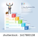 5 steps to business win concept.... | Shutterstock .eps vector #1617883138