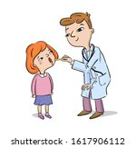 doctor examines healthy girl ... | Shutterstock .eps vector #1617906112