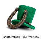 a classic green hat is a...   Shutterstock . vector #1617984352