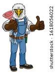 an eagle plumber cartoon mascot ... | Shutterstock . vector #1618056022