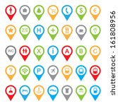 set of colored map pointers | Shutterstock .eps vector #161808956