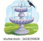 Illustration  Cartoon Crow Sit...