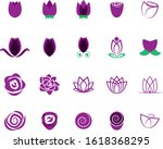 rose flower icon set   isolated ... | Shutterstock .eps vector #1618368295