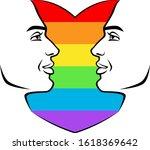 lgbt man heart on a white... | Shutterstock .eps vector #1618369642