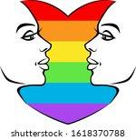 lgbt woman heart on a white... | Shutterstock .eps vector #1618370788