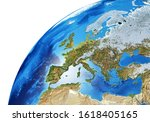 Earth Globe Close  Up Of The...