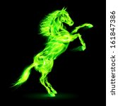 Raster version. Green fire horse rearing up. Illustration on black background. - stock photo
