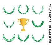 green realistic set of circular ... | Shutterstock .eps vector #1618560442
