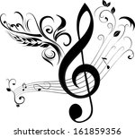 treble clef and note | Shutterstock .eps vector #161859356