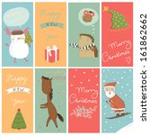 8 christmas banner with cartoon ... | Shutterstock .eps vector #161862662