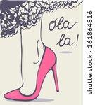 woman legs in pink high heel... | Shutterstock .eps vector #161864816