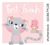 cute cat and bird cartoon with... | Shutterstock .eps vector #1618679128