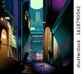 alley at night cyber punk...   Shutterstock .eps vector #1618790542