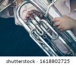 Close Up Of Tuba Musician ...