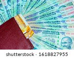 close up shot of wallet with... | Shutterstock . vector #1618827955