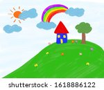 drawing a blue house on a hill  ...   Shutterstock . vector #1618886122