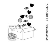 box with money coins  hearts... | Shutterstock .eps vector #1618906372