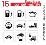 vector black electric car icons ... | Shutterstock .eps vector #161900738