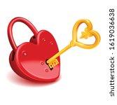 Red Heart Padlock With Gold Ke...