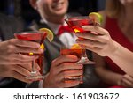 close up of hands with glasses  ... | Shutterstock . vector #161903672
