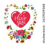 happy valentines day card. red... | Shutterstock .eps vector #1619039368