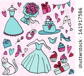 wedding doodle sketchy vector... | Shutterstock .eps vector #161917586