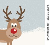 reindeer snowy background | Shutterstock .eps vector #161921696